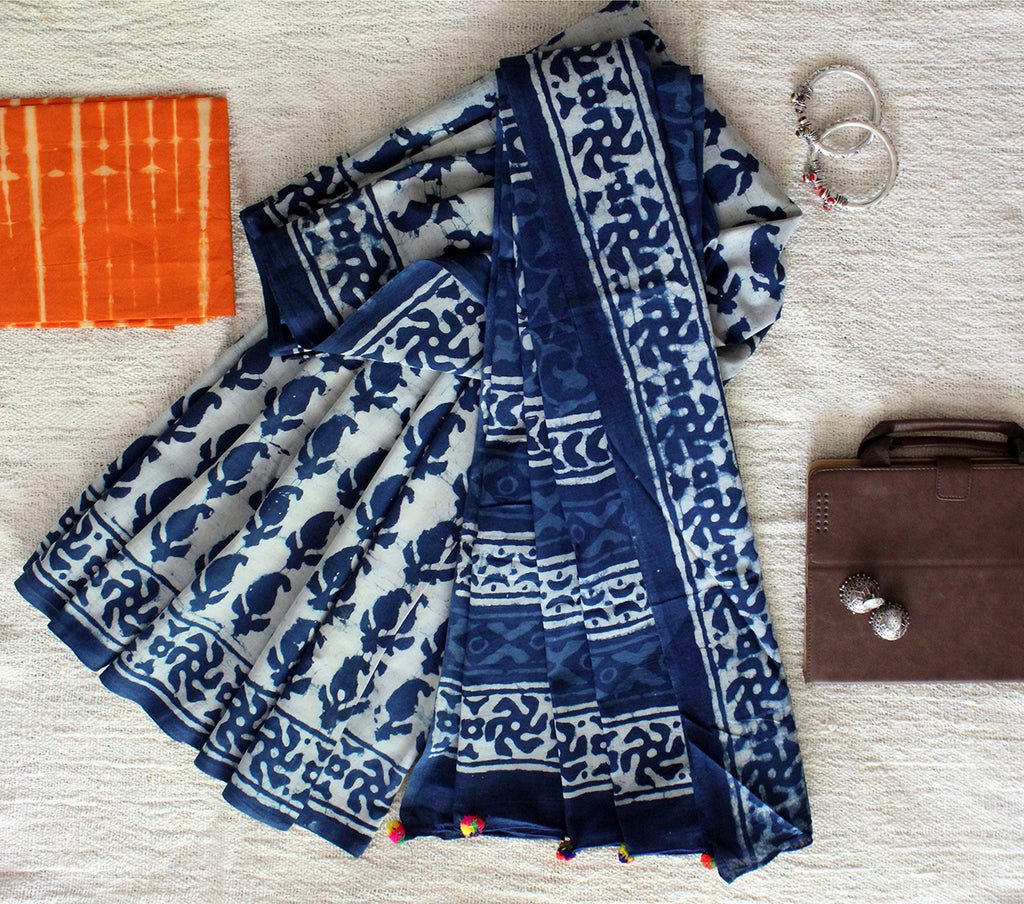 Indigo Hand Block Printed Mul Cotton Saree with Orange Tie and Dye Cotton Blouse Piece