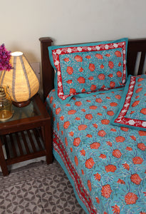 Sea Green Hand Block Printed Pure Cotton King Size Bedsheet with Pillow Covers