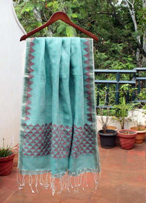 Sea Green and White Dual Toned Handloom Linen Jamdani Dupatta with Zari Border
