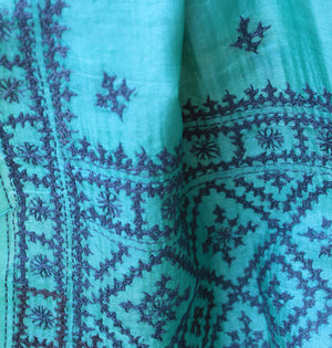 Sea Green Bengal Kantha Hand Embroidered Tussar Silk Handloom Dupatta