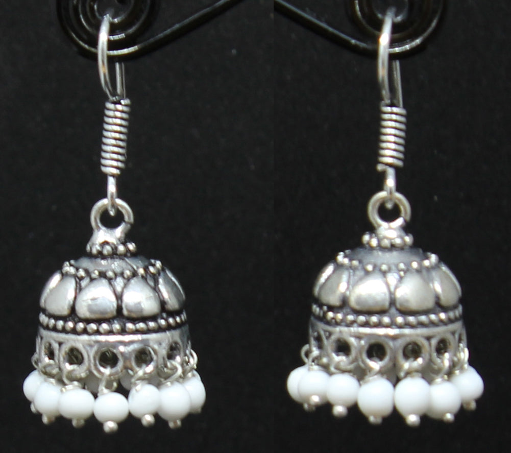 German Silver Jhumki with White Beads