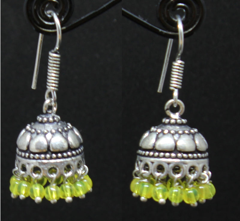 German Silver Jhumki with Yellow Beads