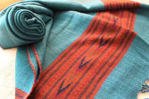 Turquoise Pure Wool Handloom Kinnauri Stole with Woven Multicoloured Geometric Border and Tassels