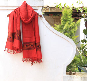 Red Pure Wool Handloom Kinnauri Stole with Woven Multicoloured Geometric Border and Tassels