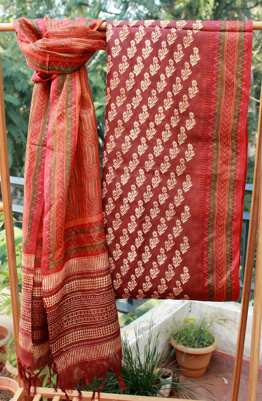 Brown and Rust Handloom Tussar Silk Hand Block Printed Dress Material