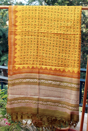 Yellow and Green Handloom Tussar Silk Hand Block Printed Dress Material