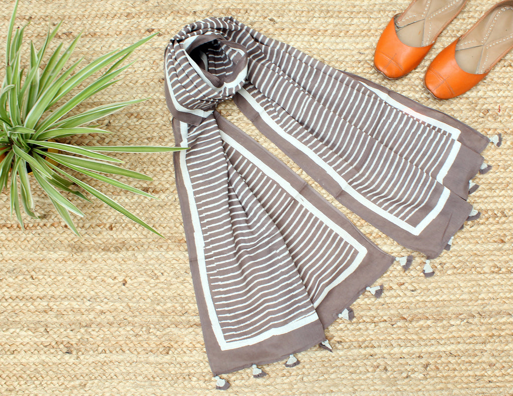 Taupe Naturally Dyed Hand Block Printed Stripes Mul Cotton Stole