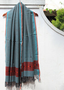 Turquoise and Grey Dual Toned Woollen Handloom Kinnauri Stole with Geometric Border
