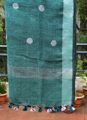 Sea Green and Black Dual Toned Handloom Linen Jamdani Dupatta with Zari Border
