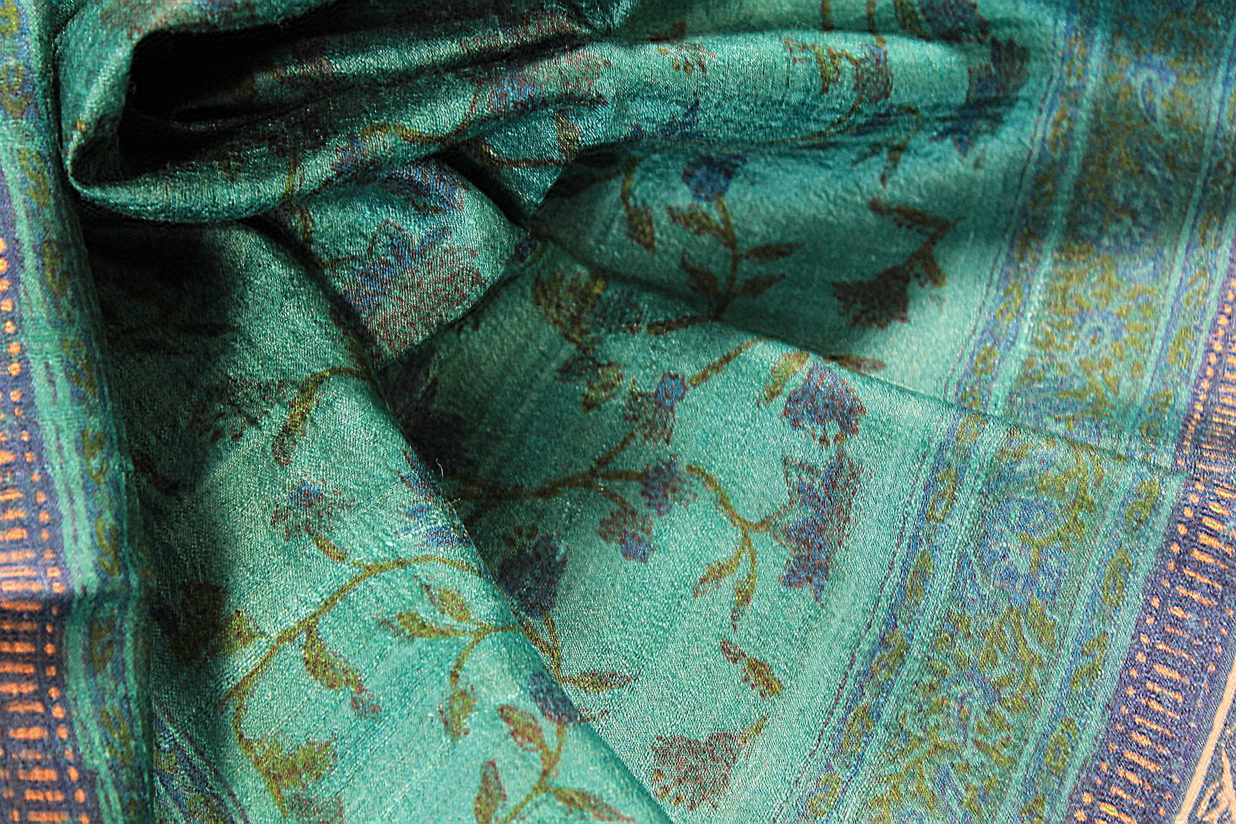 Teal and Blue Hand Block Printed Tussar Silk Handloom Dupatta