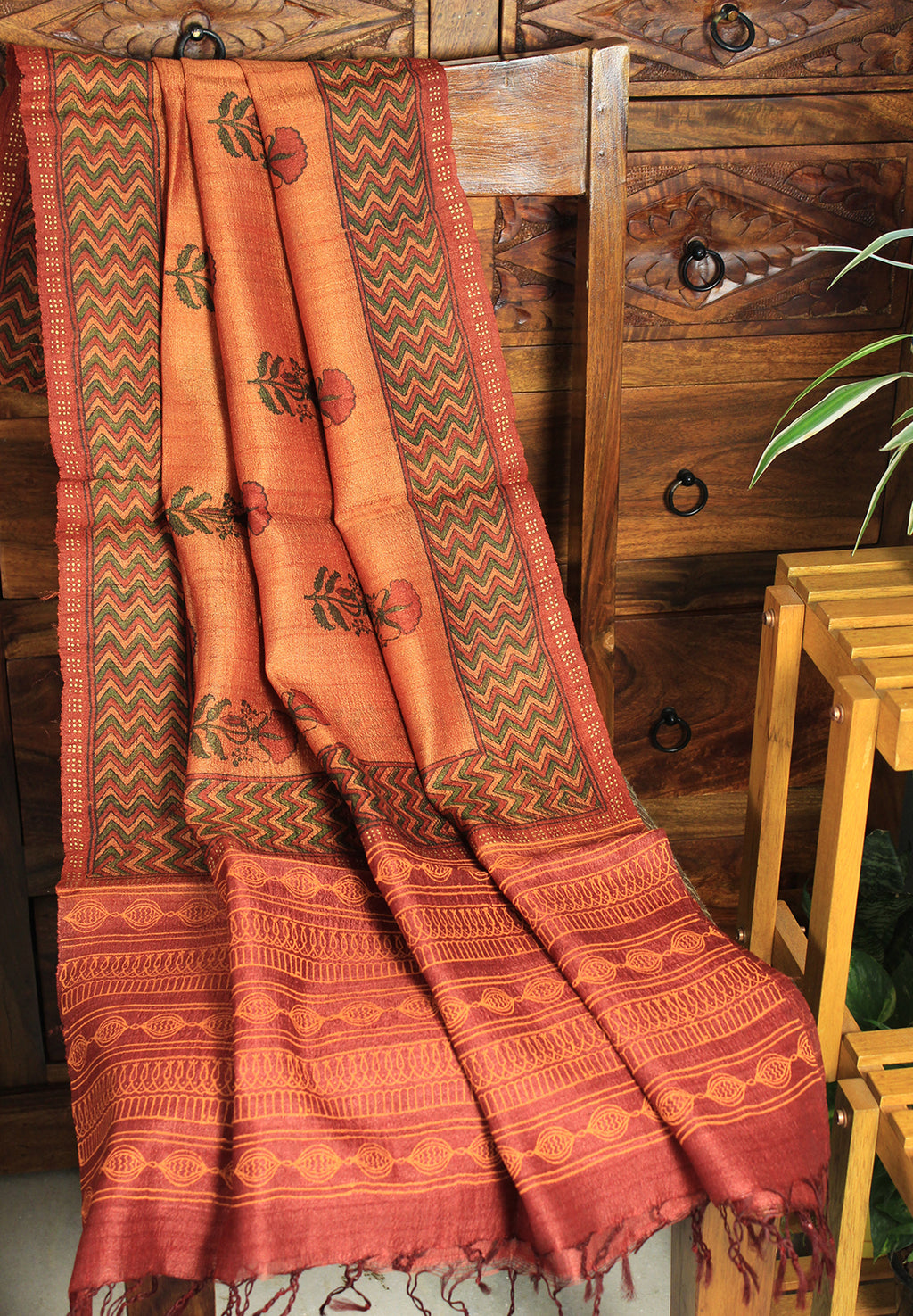 Rust and Orange Hand Block Printed Tussar Silk Handloom Dupatta