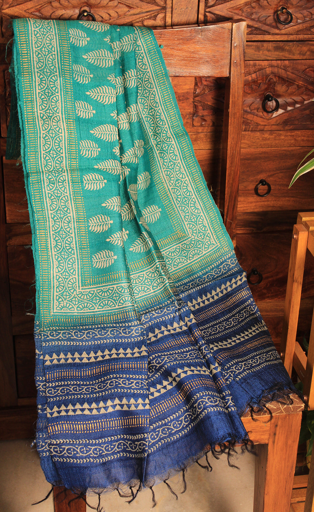 Sea Green and Blue Hand Block Printed Tussar Silk Handloom Dupatta