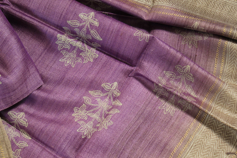 Violet and Beige Hand Block Printed Tussar Silk Handloom Dupatta