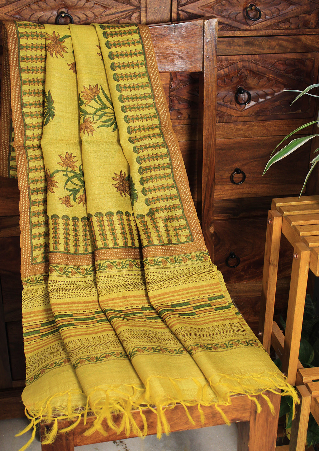Yellow Hand Block Printed Tussar Silk Handloom Dupatta
