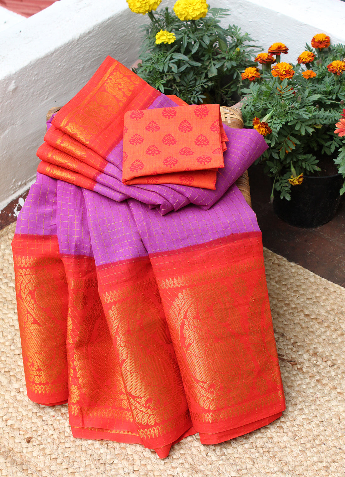 Violet and Red Handcrafted Madurai Sungudi Checkered Cotton Saree with Orange South Cotton Printed Blouse Piece
