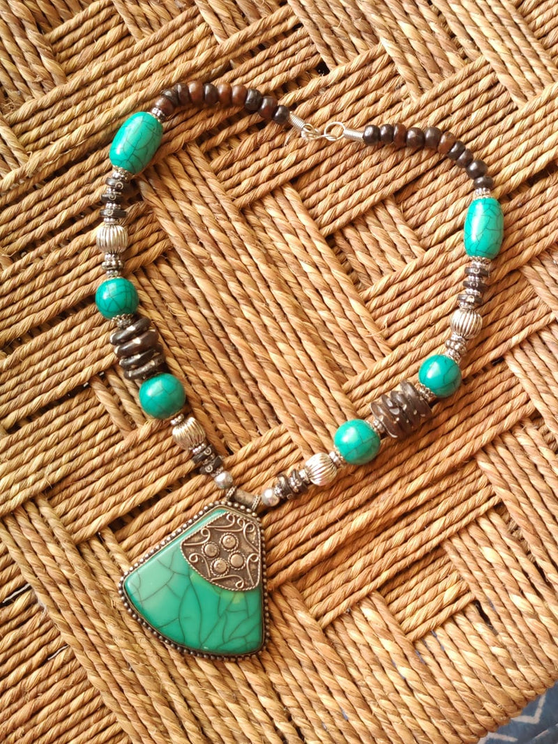Turquoise and Brown Handcrafted Necklace