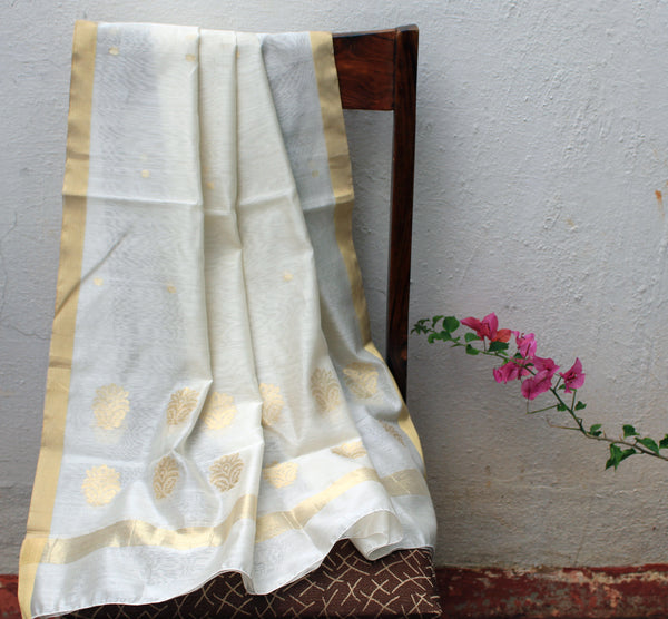 White Chanderi Handloom Cotton Silk Dupatta with Golden Motifs