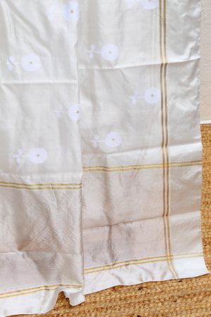White Chanderi Silk Handloom Saree with White Embossed Pure Silk Blouse Piece