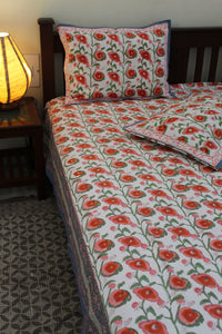 White Hand Block Printed Pure Cotton King Size Bedsheet with Pillow Covers