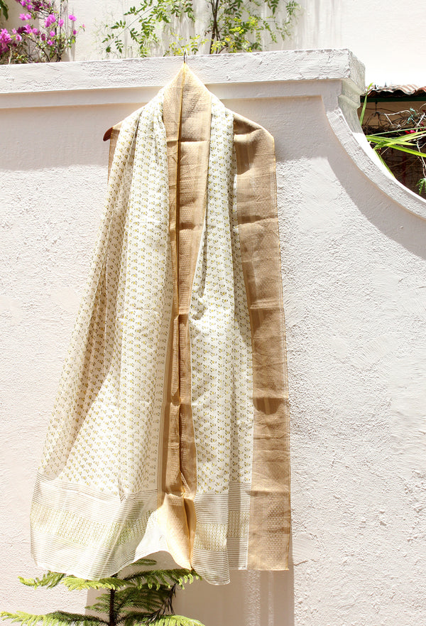 White Handloom Chanderi Cotton Silk Hand Block Printed Dupatta