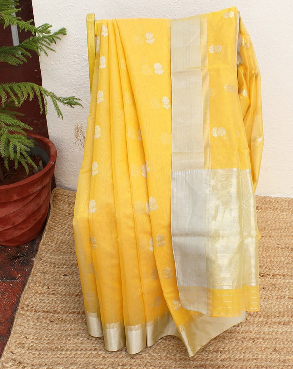 Light Yellow Chanderi Cotton Silk Handloom Saree with Pink Pure Silk Blouse Piece