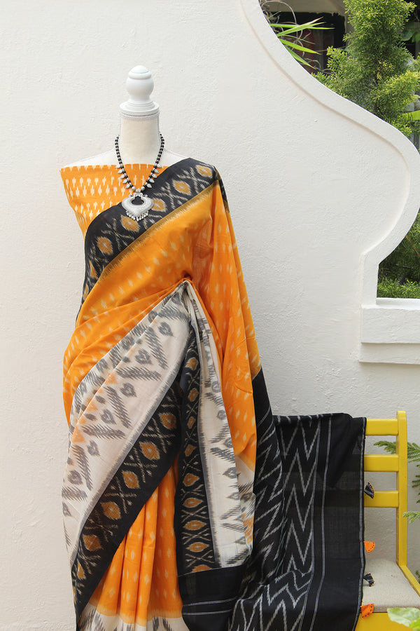 Yellow Pochampally Ikkat Handloom Saree with Mustard Ikkat Blouse Piece