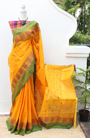 Yellow Chettinad Cotton Saree With Multi-coloured Checks South Cotton Blouse Piece