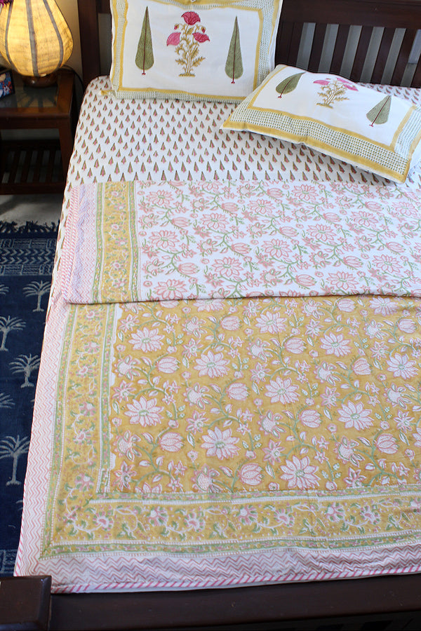 White and Pink Hand Block Printed Mul Mul Cotton Reversible Double Dohar