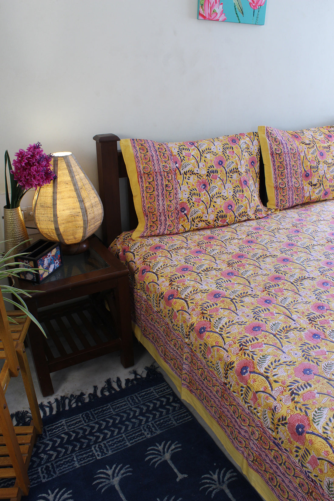 Yellow Hand Block Printed Pure Cotton King Size Bedsheet with Pillow Covers