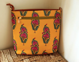 Yellow Printed Cotton Sling Bag