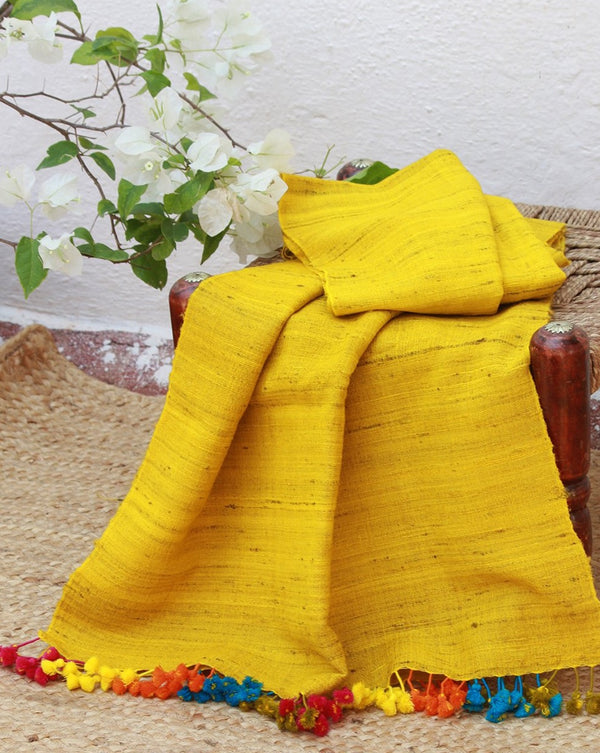 Yellow Wool and Silk Handwoven Stole