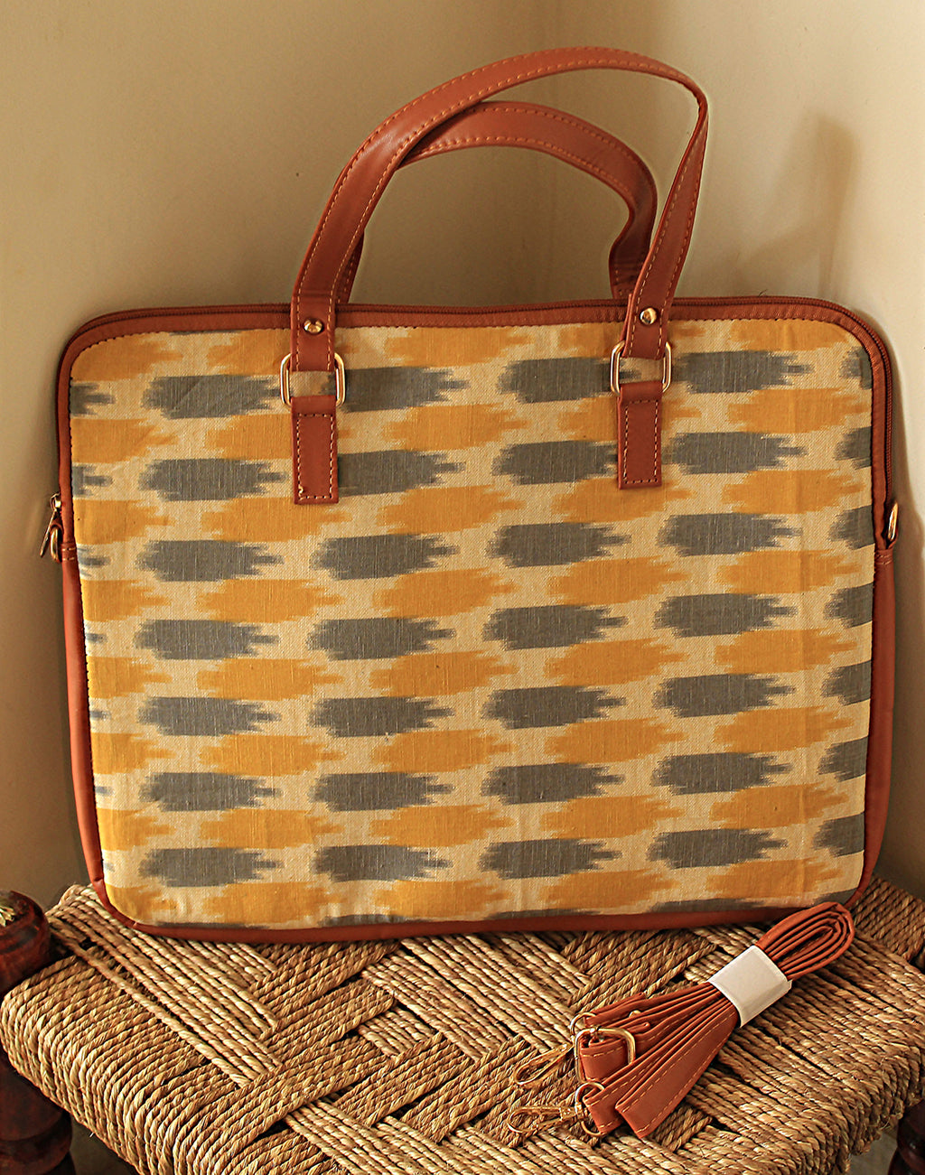 Yellow and Grey Handloom Ikkat Cotton Laptop Bag with Adjustable Belt