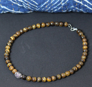 Brown Mountain Beads Handmade Necklace with German Silver Bead