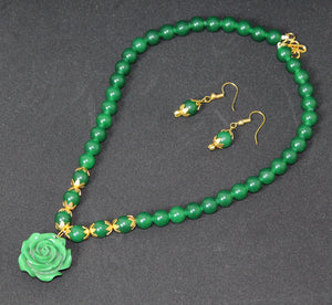 Green Mountain Beads Handmade Necklace with Green Rose Pendant and Hoop Earrings