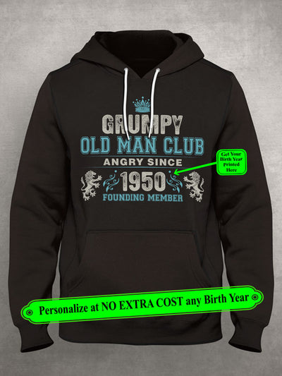 "Grumpy Old Man Club Angry Since ""Birth Year To Print"" Founding Member Personalize Custom Shirt (70% OFF Today) Most Buy 2-4 Shirts"