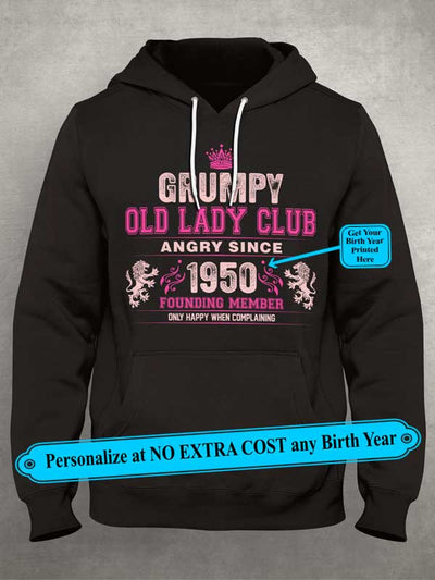 "Grumpy Old Lady Club Angry Since ""Birth Year To Print"" Founding Member Personalize Custom Shirt (70% OFF Today) Most Buy 2-4 Shirts"