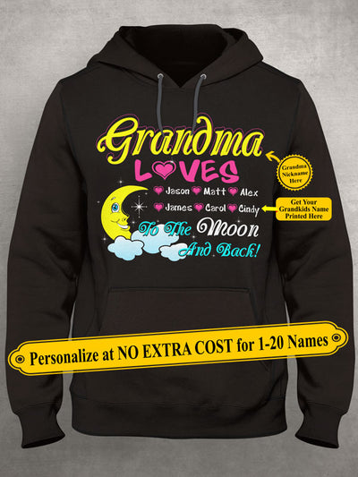 Grandma Loves Grandkids To The Moon And Back. Personalize Grandma Shirt With Grandkids Names On Shirt (70% OFF Today) Most Grandmas Buy 2-4 Shirts