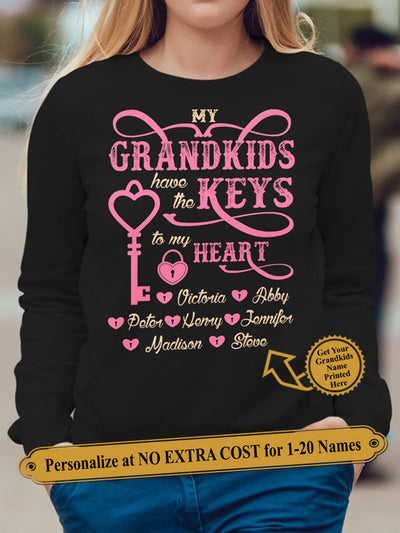 My Grandkids Have The Keys To My Heart. Personalize Grandma Shirt With Grandkids Names On Shirt (70% OFF Today) Most Grandmas Buy 2-4 Shirts