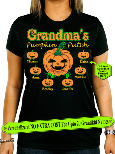 Grandma Pumpkin Patch Personalize Shirt With Grandkids Names On Shirt (70% OFF Today)