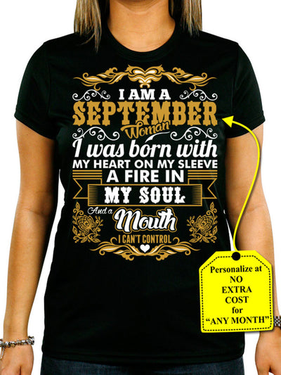 September Woman Heart Sleeve Mouth Cant Control Personalize Shirt (70% OFF Today) Most Buy 2-4 Shirts