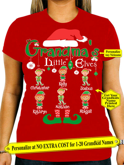 Grandma Little Elves, Personalize Grandma Shirt with Grandkids Names on Shirt (70% OFF Today) Most Grandmas Buy 2-4 Shirts