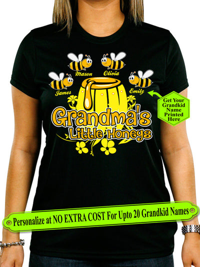 Grandma Little Honeys Personalize Shirt With Grandkids Names On Shirt (70% OFF Today)