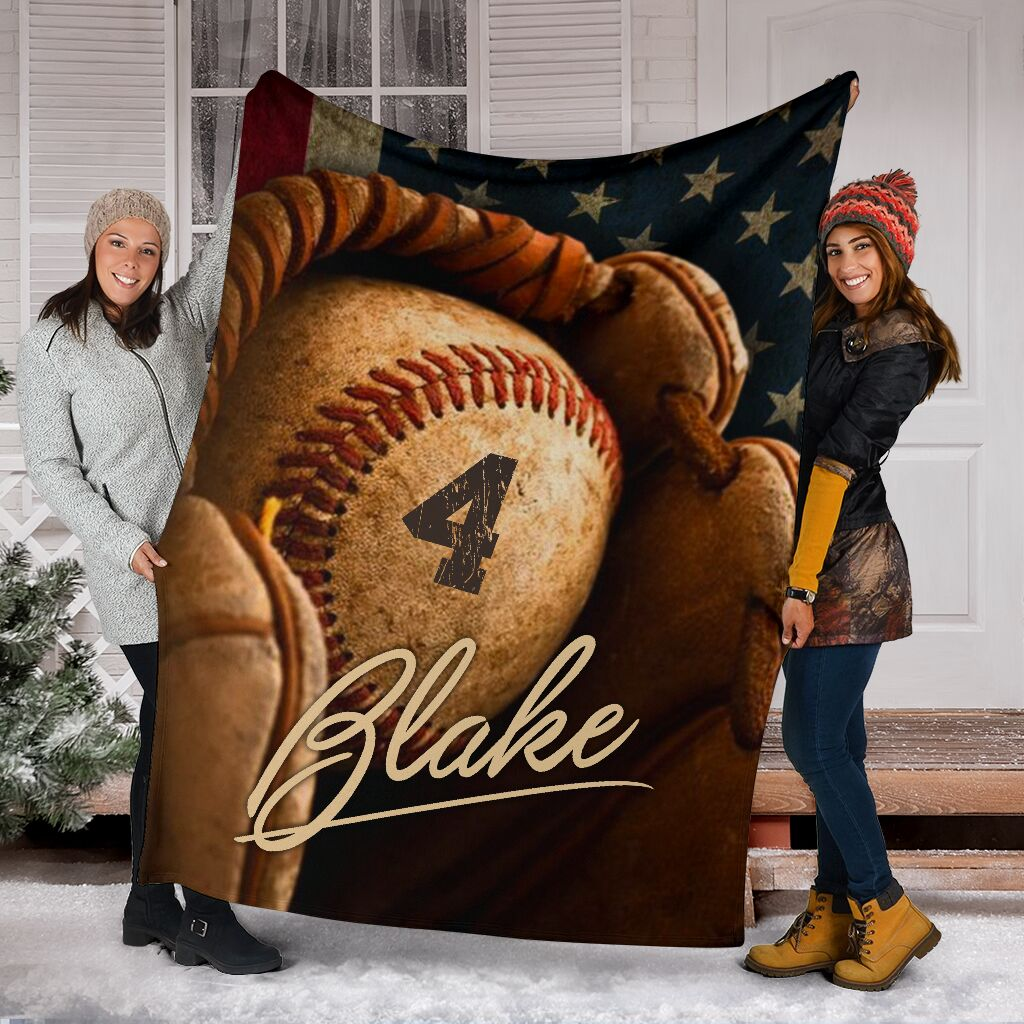 Baseball Signature Glove Personalized Name and Number Premium Blanket