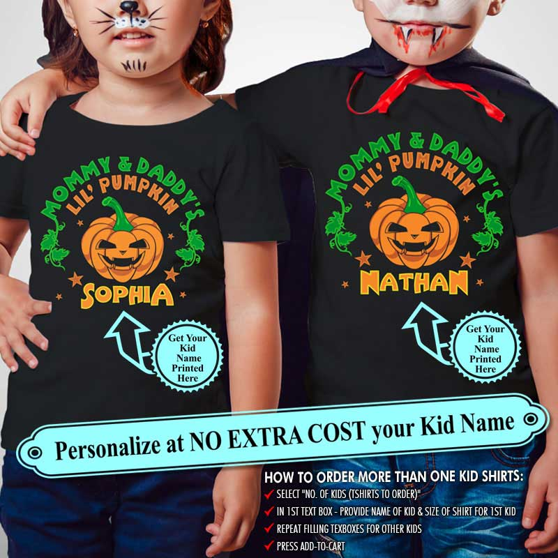 "Mommy And Daddys Little Pumpkin ""Name Of Kid"", Personalize Shirt with Kidname on Shirt (70% OFF Today) Most Buy 2-4 Shirts"