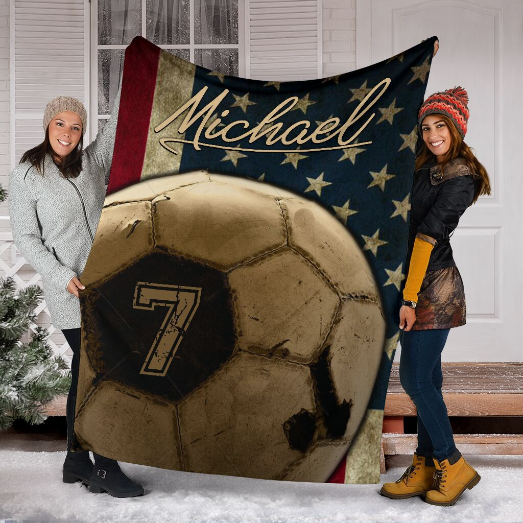 Soccer Signature Personalized Name and Number Premium Blanket