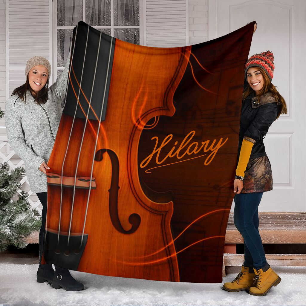 Violin Signature Personalized Name Premium Blanket