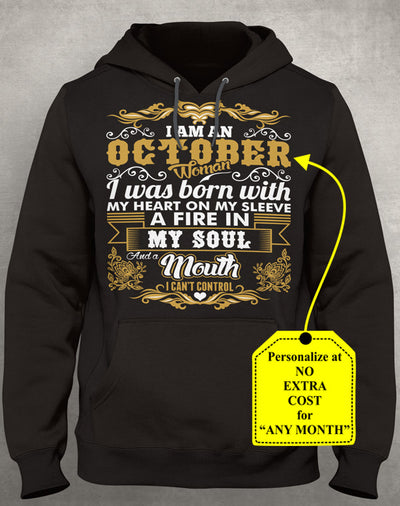 October Woman Heart Sleeve Mouth Cant Control Personalize Shirt (70% OFF Today) Most Buy 2-4 Shirts