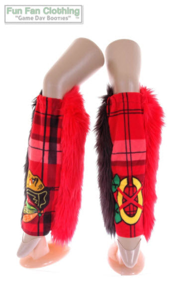 Chicago Blackhawks Game Day Booties - Black & Red Faux Fur with Front Panel Plaid Fleece