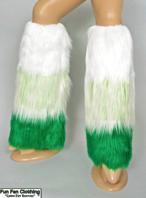 Game Day Booties - Green Mongolian White and Green Faux Fur Tricolor Waterfall Design