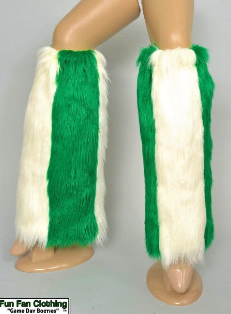 Game Day Booties - Green and White Faux Fur